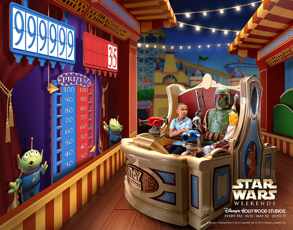 Boba Fett riding Toy Story Mania