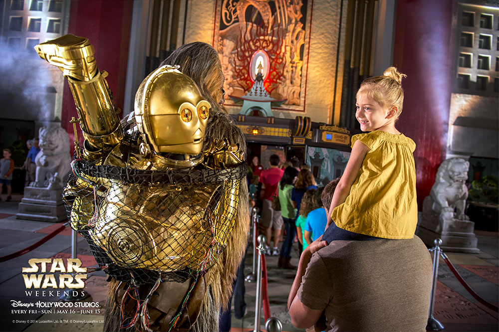 Chewbacca and C-3PO going on the Great Movie Ride